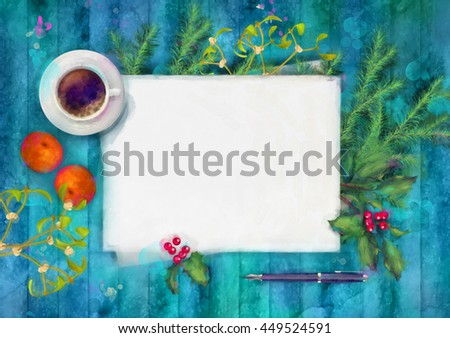 Christmas watercolor top view background. Blank paper sheet with cup of coffee, pen, and decorations on wood table - stock photo