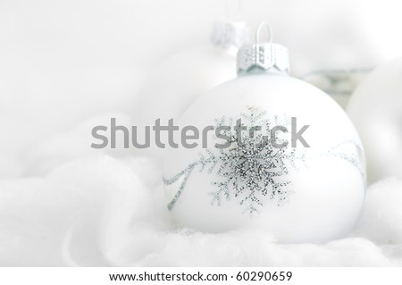 christmas white background, with a christmas ball. - stock photo