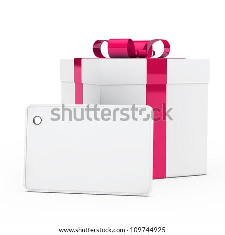 christmas white gift box pink ribbon signboard - stock photo