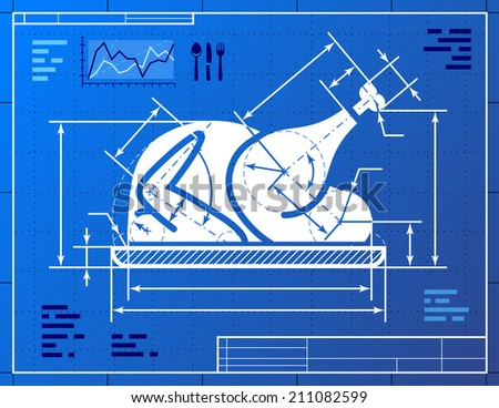 Christmas whole turkey symbol like blueprint drawing. Drafting of roast turkey sign on blueprint paper. Image about cooking, holiday meals (christmas, thanksgiving), recipes, food, restaurant, etc - stock photo