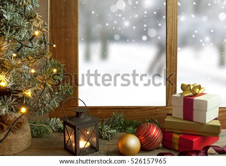 Christmas window with gifts