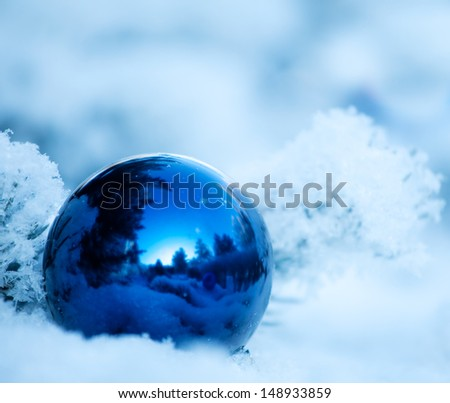 Christmas winter background. Ornaments ball - stock photo