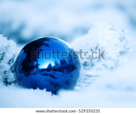 Christmas winter background. Ornaments ball