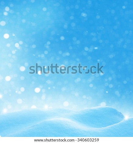 Christmas winter background with snow and blurred bokeh  - stock photo