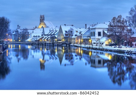 Christmas winter evening in german town near Munich, Germany - stock photo