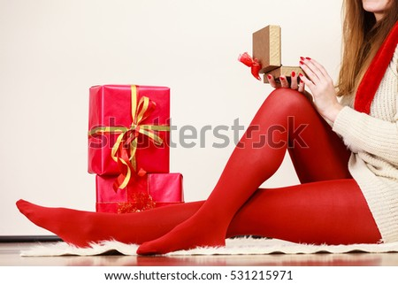 Woman Wearing Red Pantyhose Many Gift Stock Photo 538729462 ...