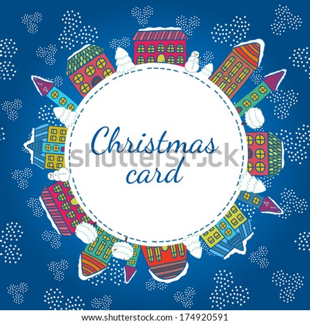 Christmas winter houses frame vector illustration