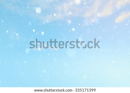Christmas Winter landscape with falling snow  - stock photo