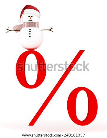 Christmas winter sale. Snowman in a hat of Santa Claus standing on a precent sale sign  - stock photo
