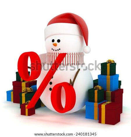 Christmas winter sale. Snowman in a hat of Santa Claus surrounded by gift boxes - stock photo