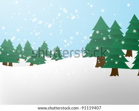 Christmas/ Winter scene. Pine Trees - stock photo