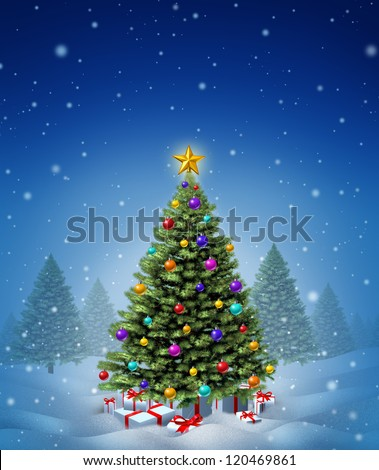 Christmas winter tree decorated with ornate decorative balls and gifts with red ribbons and bows as a seasonal symbol of winter celebration and festive new year on a cold snowing night. - stock photo