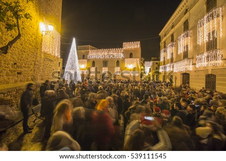 Christmas wishes from the most beautiful villages in Spain, by Ferrero Rocher campaigns. Rubielos de Mora was touched by the magic lighting of Ferrero Rocher on December 17. 2016 in Teruel Spain