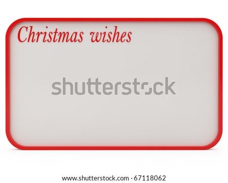 Christmas Wishes isolated on white - 3d illustration - stock photo