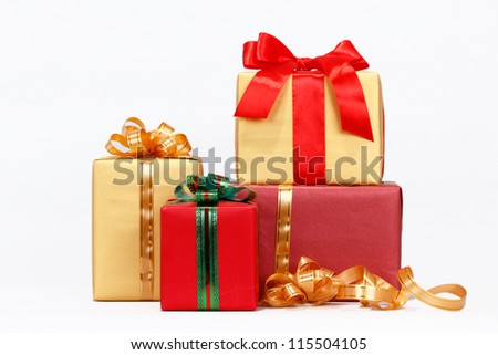 christmas  with decorative gift packages - stock photo