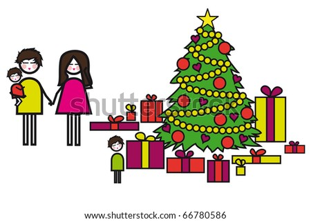 Christmas with family - stock photo