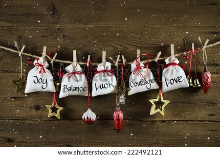 Christmas without gifts - presents from the heart with love, luck, happiness. - stock photo