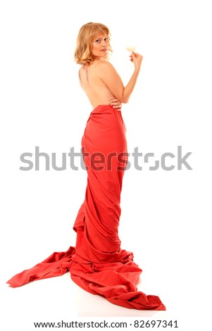 christmas woman beautiful smiling with glass of champagne santa's hat isolated on white background - stock photo