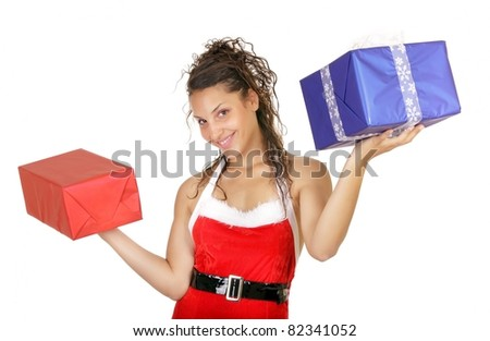christmas woman holding gift isolated on white