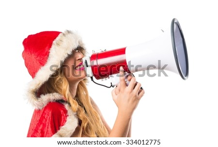 Christmas woman shouting by megaphone