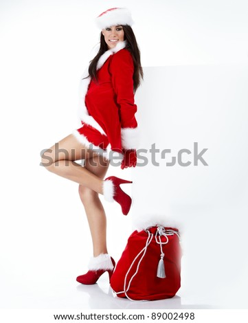 christmas woman with gifts - stock photo