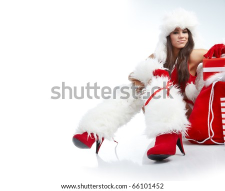 christmas woman with gifts box - stock photo