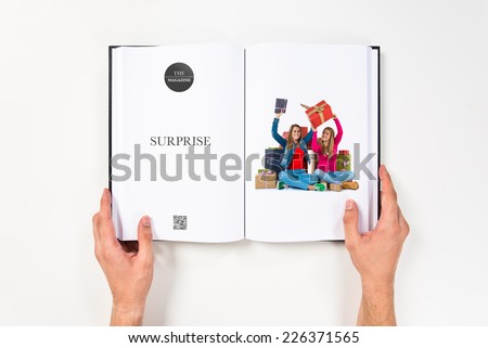Christmas women holding gifts printed on book