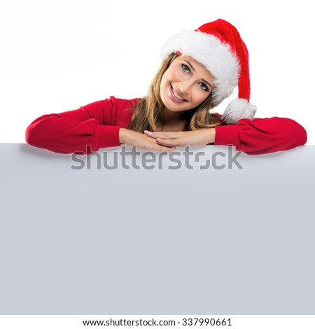 Christmas Women, relies on the table behind - stock photo