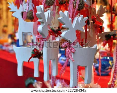 Christmas Wooden deer decorations - stock photo