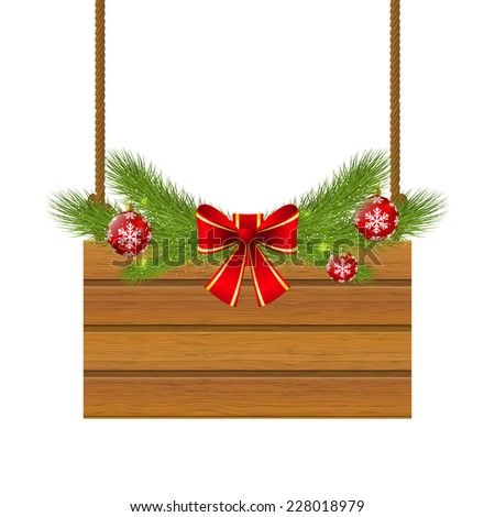 Christmas wooden plate for Your design - stock photo