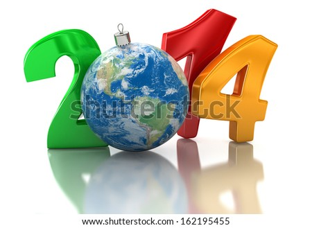 Christmas world 2014  (clipping path included). Earth map provided by NASA - stock photo