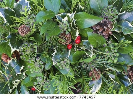 Christmas Wreath Background - stock photo