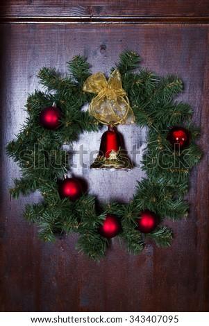 Christmas wreath close-up - stock photo