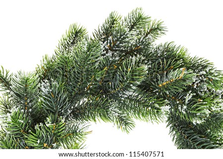 Christmas wreath closeup, isolated on white - stock photo