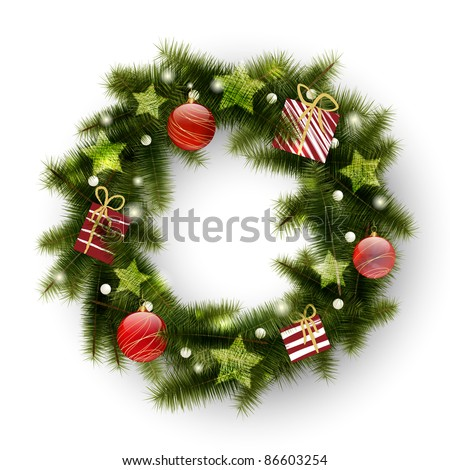 Christmas wreath decorated with balls, stars and presents