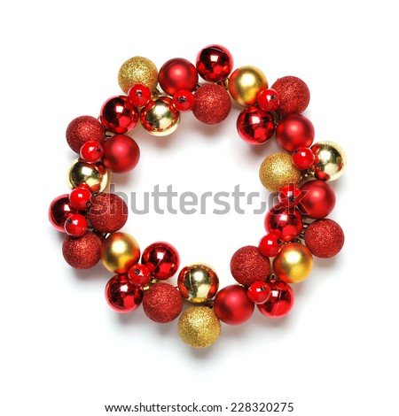 Christmas wreath decoration on white background - stock photo
