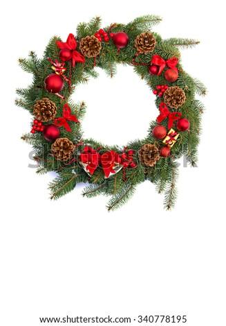 Christmas wreath decoration on white background - stock photo