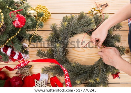 Christmas wreath decoration with hand made DIY ,do it by yourself.