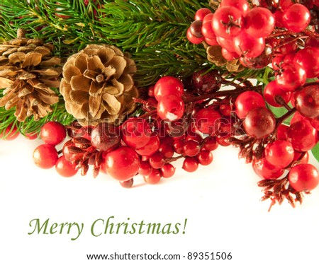 Christmas wreath from red berries, a fur-tree and cones - stock photo