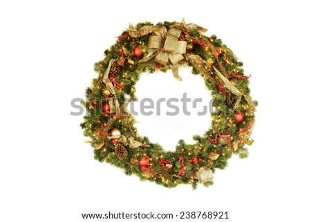 Christmas Wreath isolated on a white background - stock photo