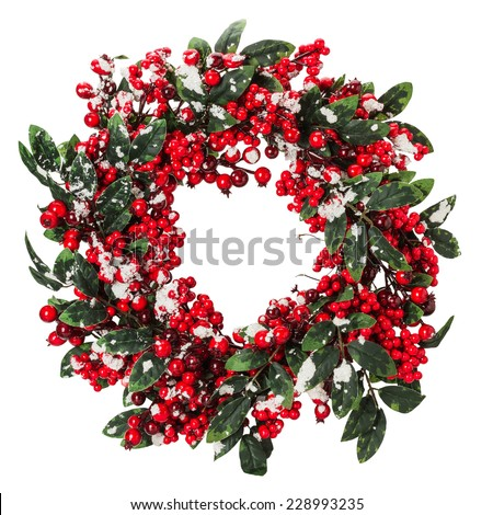 Christmas wreath isolated on the white background - stock photo
