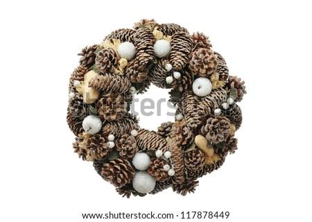 Christmas wreath, isolated on white - stock photo