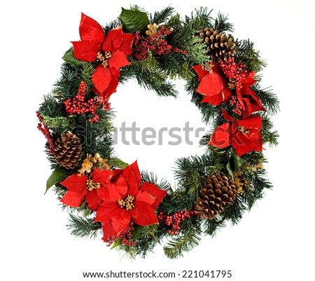 Christmas wreath, isolated on white. - stock photo