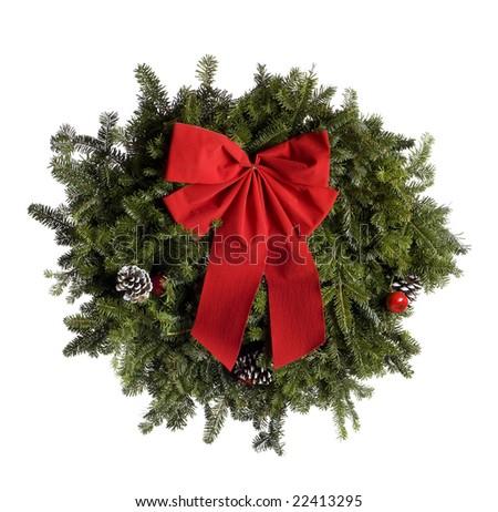 Christmas wreath isolated on white background. - stock photo