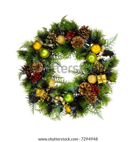 Christmas wreath, isolated on white background - stock photo
