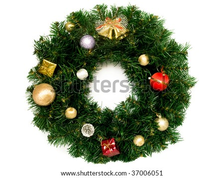 Christmas wreath isolated over white. - stock photo