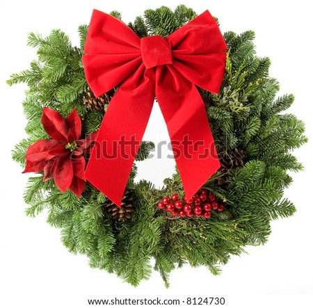 Christmas wreath made from real pine boughs isolated on white background - stock photo
