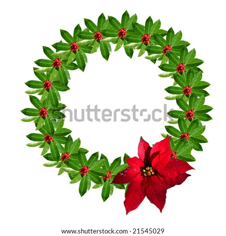 Christmas wreath made of American Holly with a red poinsettia bow. - stock photo