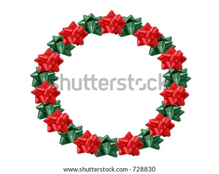 Christmas wreath made out of bows. - stock photo