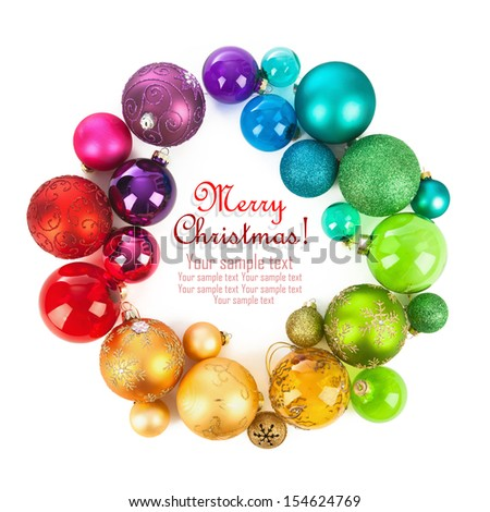 Christmas wreath of colored balls - stock photo